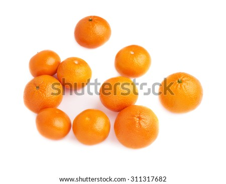 Surface covered with multiple orange ripe fresh juicy tangerines, composition isolated over the white background