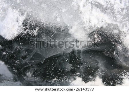 Surface of outdoor ice with snow, replete with skate marks - stock photo