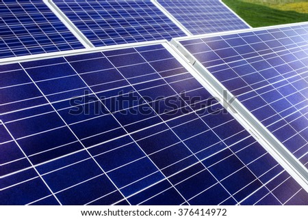surface of the a solar panel on the field