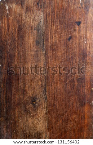 Surface of the old wooden planks oak kitchen board - stock photo