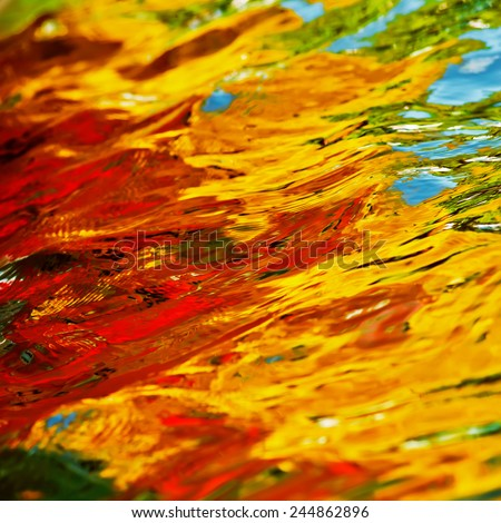 surface water and multi-colored reflections in the waves - stock photo