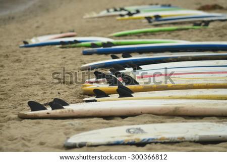 Surfboards on Beach - stock photo