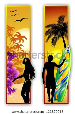 Surfer and Sexy Girl on Tropical Beach - stock photo