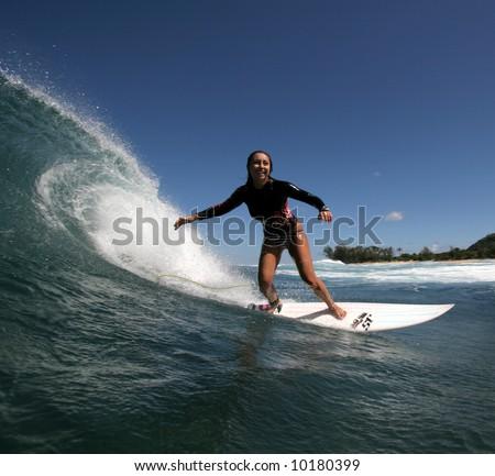 surfer girl - stock photo