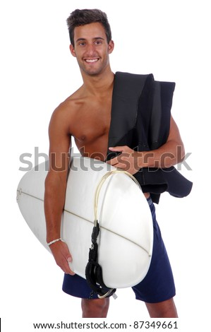 surfer holding a surfboard (isolated in white background) - stock photo