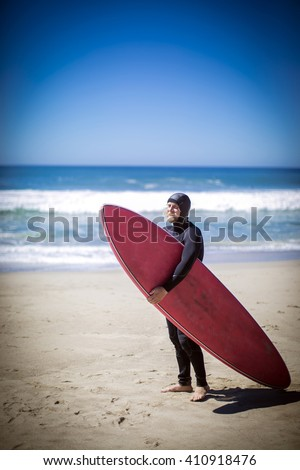 Surfer in Malibu - stock photo