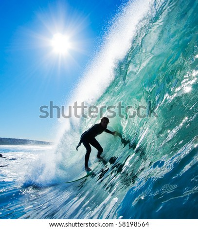 Surfer in the Barrel - stock photo