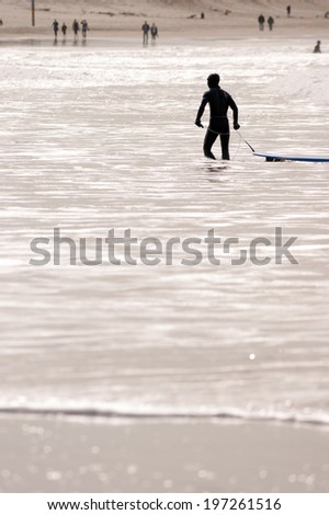 Surfer Wearing Wetsuit Pulls Surf Board After Surfing Session - stock photo
