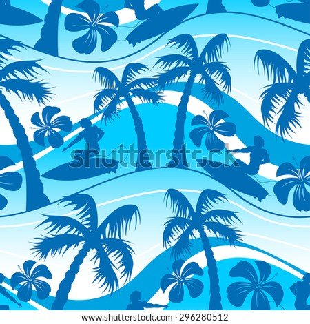 Surfer with palm tree seamless pattern .