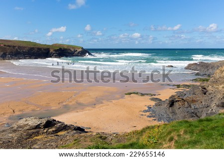 Surfers beach Treyarnon Bay Cornwall England UK north coast between Newquay and Padstow on a sunny blue sky day - stock photo