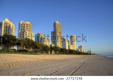 Surfers Paradise beach, Gold Coast Australia in the early morning golden light. - stock photo