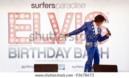 "SURFERS PARADISE - JAN 7  An unidentified  singer on  concert  ""Surfers Paradise Elvis Birthday Bash""   Saturday 7  2011 Surfers Paradise Queensland Australia . - stock photo"