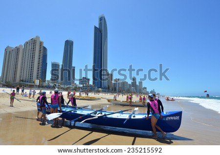SURFERS PARADISE - NOV 08 2014:Surf rowers.More than 400 surf rowers and 55 surfboats hit the waves at Surfers Paradise Beach during the open Navy Australian Surf Rowers League season.
