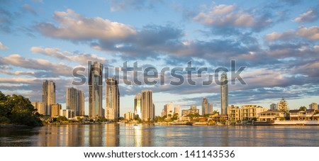 Surfers Paradise reflections, Gold Coast, Australia - stock photo