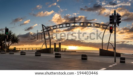 Surfers Paradise sign during sunrise, Gold Coast - Australia - stock photo