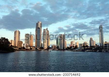 Surfers Paradise skyline at dusk in Gold Coast Queensland, Australia.