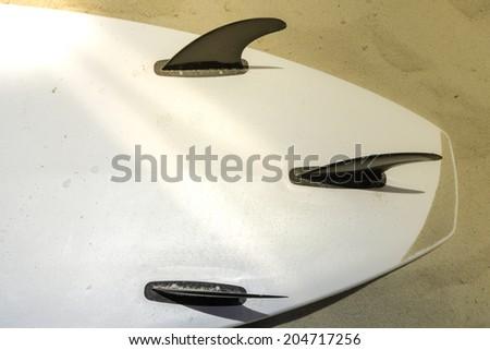 Surfing board on Copacabana Beach in Rio de Janeiro, Brazil - stock photo