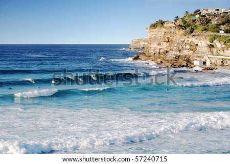 Surfing in Sydney, Australia, at Bronte beach near Bondi - stock photo