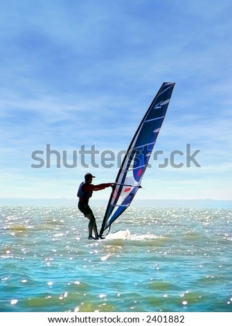 Surfing on sea of Azov - stock photo