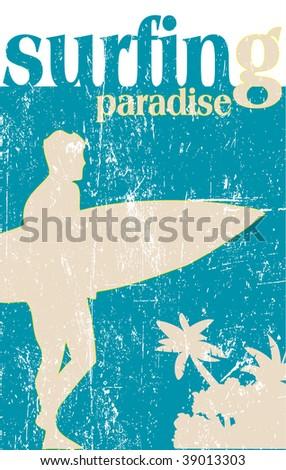 surfing poster - rasterized vector.vector version-in my portfolio - stock photo
