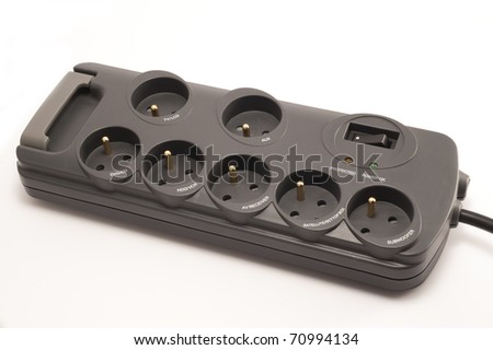 Surge protector with specification of appliances. Isolated. - stock photo