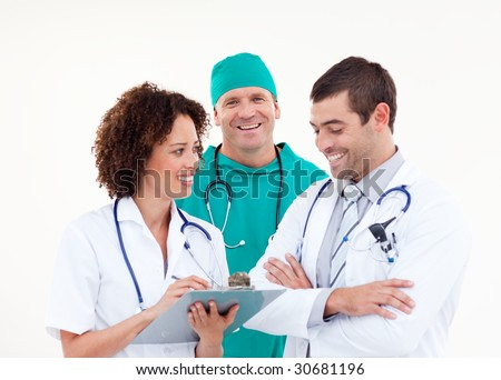 Surgeon in Discussion with Senior Doctors - stock photo