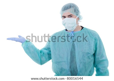 Surgeon in mask and gloves
