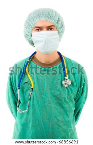 Surgeon portrait with stethoscope, isolated on white - stock photo