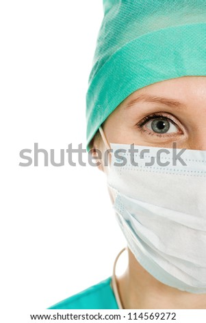 Surgeon woman in protective mask on a white background.