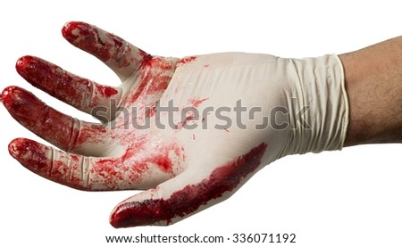 Surgeons Hand In Latex Glove Covered In Blood - Isolated