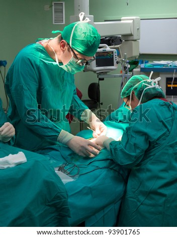 Surgeons operating at the hospital