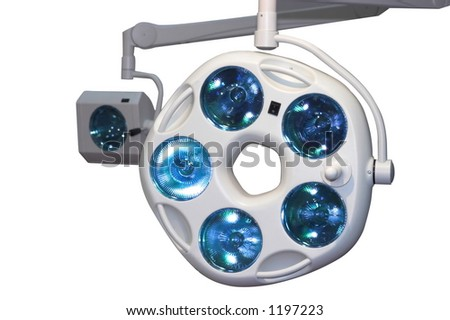 Surgery hospital lights isolated on white backgroud
