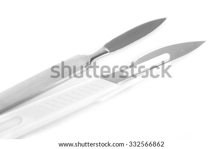Surgery scalpel isolated on white - stock photo