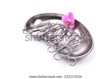 surgical instruments for general medical interventions isolated on white background - stock photo