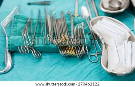 surgical instruments for lung surgery - stock photo