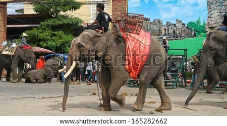 SURIN, THAILAND - NOVEMBER 15th: The street parade of the annual Elephant Rondup Festival in Surin, Thailand on the 15th November, 2013.