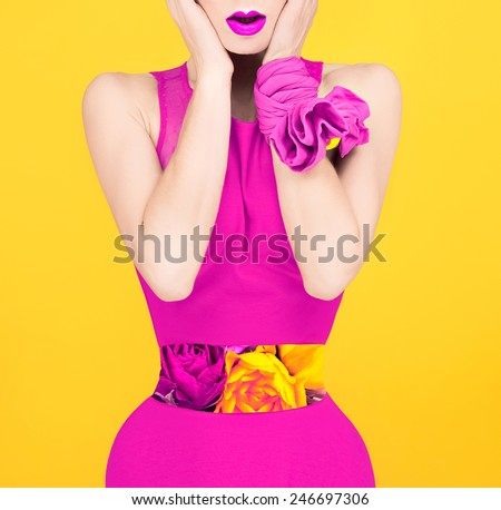 Surprise fashion lady in a crimson color style. Spring, Flowers, Roses - stock photo