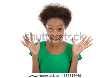 Surprised African American woman  - stock photo