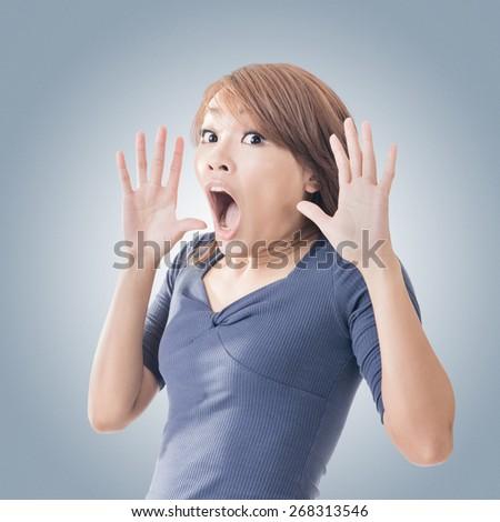 Surprised Asian woman, closeup portrait. - stock photo