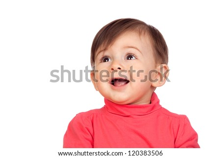 Surprised baby girl looking up isolated on white background - stock photo