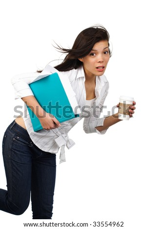 Surprised Beautiful casual businesswoman on the move with disposable coffee cup. Isolated on white background - stock photo