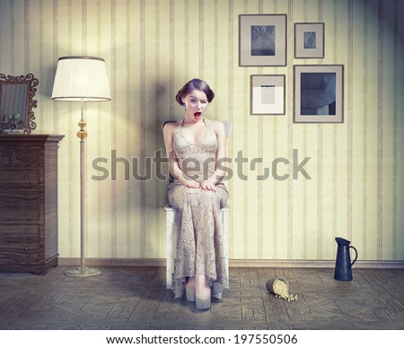 Surprised beautiful girl in the vintage interior. Creative concept  - stock photo