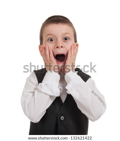 surprised boy isolated on white - stock photo