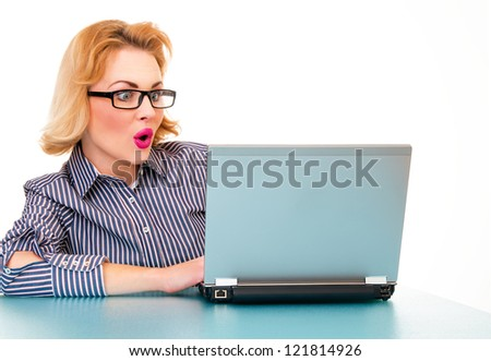 Surprised business woman browsing on laptop, isolated on white