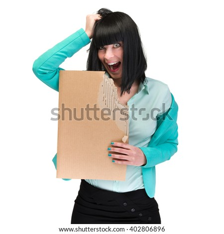 surprised business woman showing blank cardboard
