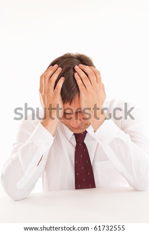surprised by a man on a white background - stock photo