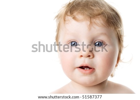 Surprised child isolated on a white background