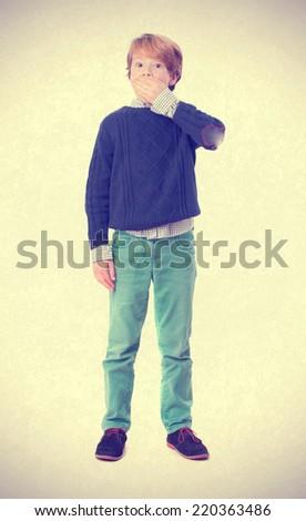 Surprised child posing - stock photo