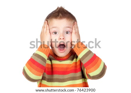 Surprised child with blond hair isolated on white background - stock photo