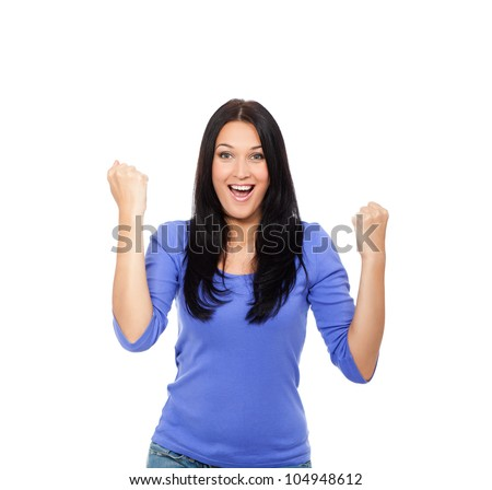 surprised excited smile woman hold hands up, winner young girl hold fist with success, yes, ok gesture, isolated over white background - stock photo